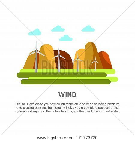 Wind power station vector flat illustration. Electricity energy plant or powerhouse operating by windmill and air flow for electric generation industry