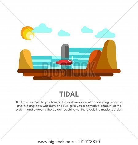 Tidal power station vector flat illustration. Electricity energy plant or powerhouse operating by sea or ocean water and tide mill hydropower for electric generation industry