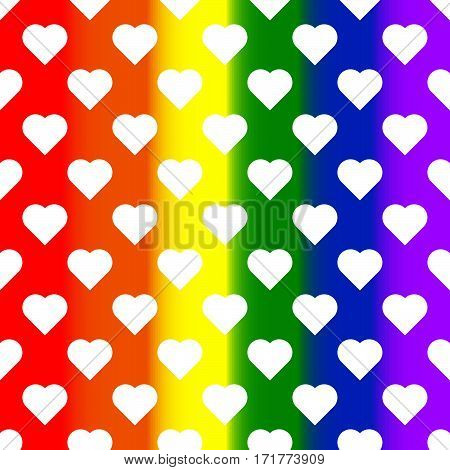 White hearts on rainbow background. LGBT background. Design element for poster, banner, flyer, greeting card, pride. Vector illustration