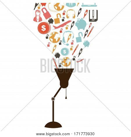desk lamp with set collection investment and tech vector illustration