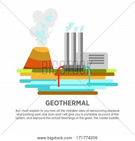 Geothermal power station vector flat illustration. Electricity energy plant or powerhouse operating by earth thermal heat steam for electric generation industry