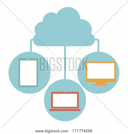 cloud in cumulus shape connected to tech device vector illustration