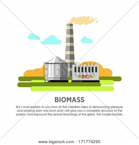 Biomass power station vector flat illustration. Electricity energy plant or powerhouse operating by biofuel of organic matter for electric generation industry