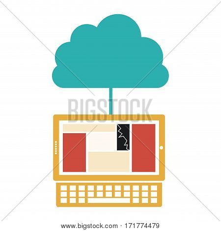 cloud in cumulus shape connected to laptop vector illustration
