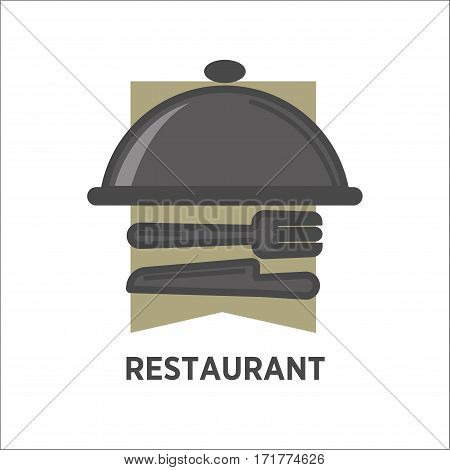 Restaurant logo template of dish tray and fork or knife tableware on waiter or table napkin. Vector isolated icon