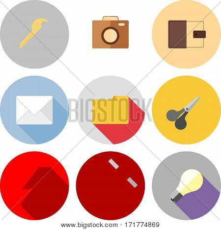 Set of icons with long shadows. Vector illustration