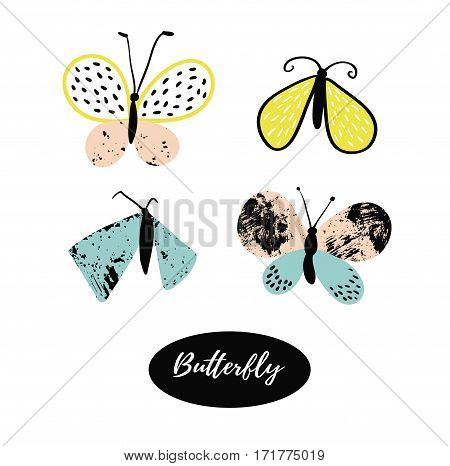 Hand drawn butterfly logo design collection. Vector elements isolated on the white background.