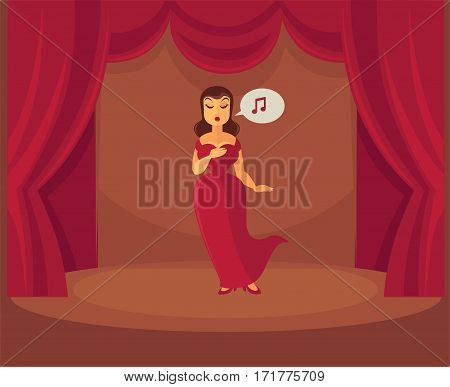 Theater or opera singer woman singing on stage in red dress on curtain drapery background under spotlight. Vector illustration