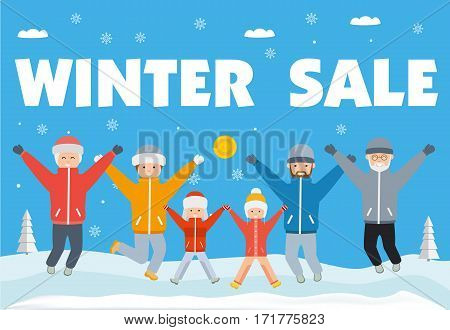 Winter sale banner. Happy big family grandma grandpa mom and dad and children in winter clothes jumping up and down. Flat vector illustration