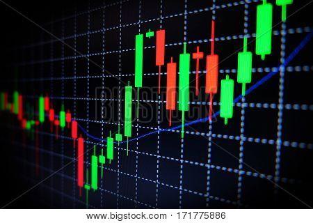 Stock Exchange green and red graph with black background , Forex market , trading.