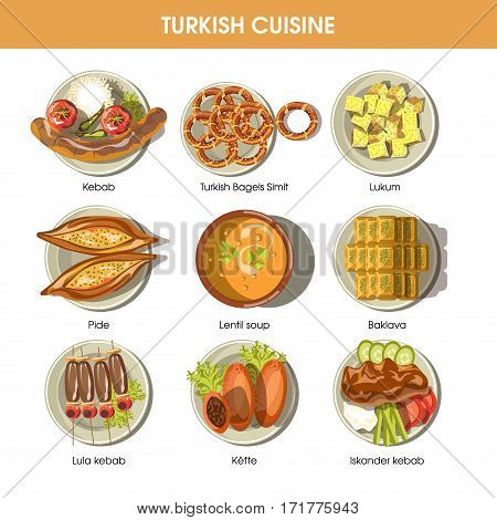 Turkish food cuisine for restaurant menu. Turkey traditional meal dishes of lula kebab and kefte meat, pide or smith bagel snack, lentil soup, lukum and baklava pastry desserts. Vector icons