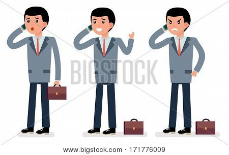 Cartoon character. The clerk. Talking on the phone in different emotions. Surprise, joy, anger. Flat vector illustration