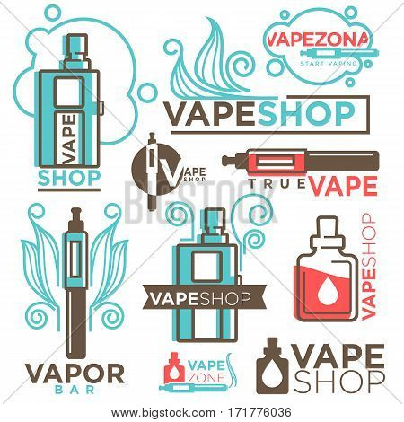 Vape shop logos templates set. Vector icons or modern trendy vaping or smoking types of shisha, hookah and electronic cigarettes with aroma tobacco cartridges