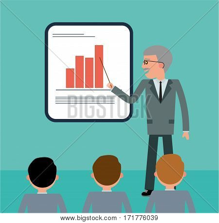 The boss explains to his employees the company's strategy. The Director points to sales growth. Cartoon flat vector illustration