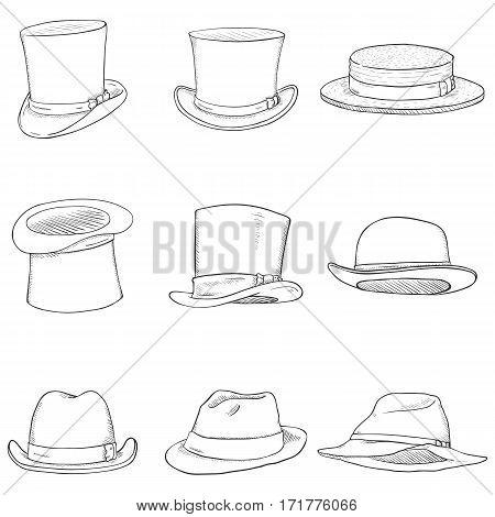 Vector Set Of Different Men Hats
