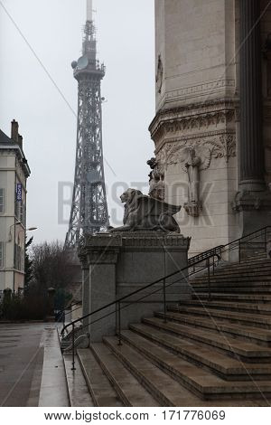 Lyon, France - December 20, 2016: Lion with wings symbol of city. architecture Basilica of Notre-Dame de Fourviere is located on hill of Fourviere in December 20 in Lyon, France