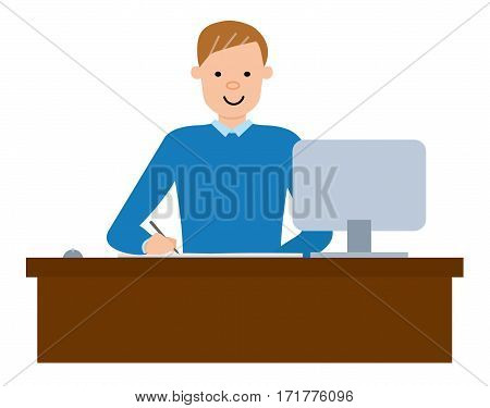 Happy student using pc and writing notes. Student working on pc. Vector flat design illustrations isolated on white background.