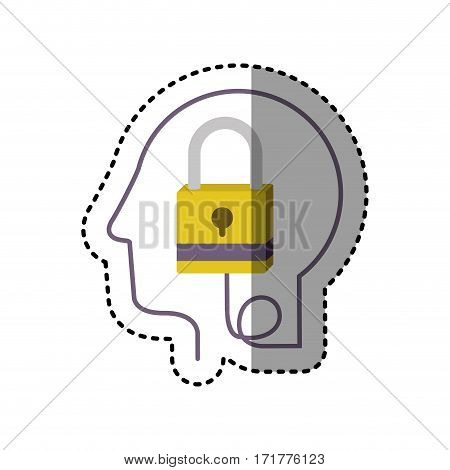 sticker silhouette profile human head with closed padlock vector illustration