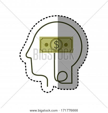 sticker silhouette profile human head with bill with dollar symbol vector illustration