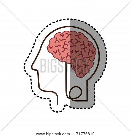 sticker silhouette profile human head with brain vector illustration