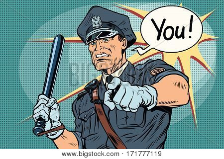 Police officer COP with a baton. Vintage pop art retro comic book vector illustration