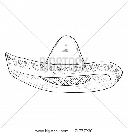 Vector Single Sketch Traditional Mexican Hat. Sombrero.