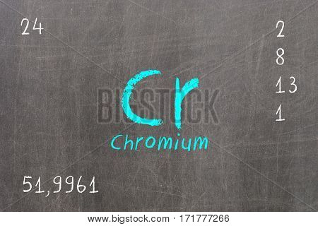 Isolated Blackboard With Periodic Table, Chromium
