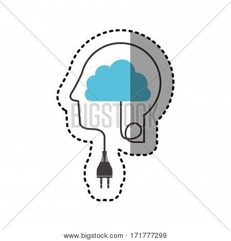 sticker silhouette profile human head with plug connector and cloud vector illustration