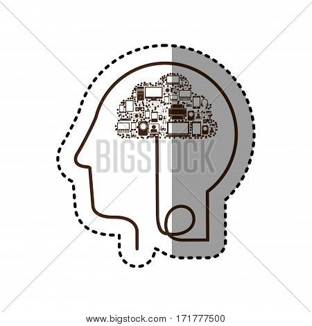 sticker silhouette profile human head with tech device vector illustration