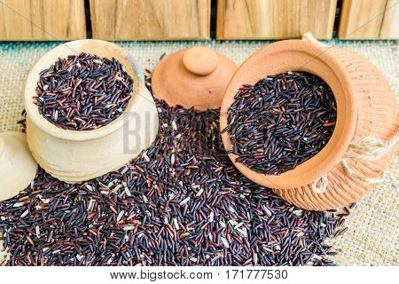 Hom Nil (black jasmine rice) in clay pot on sack wooden background
