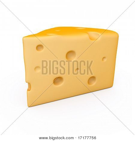 A peace of cheese over white background