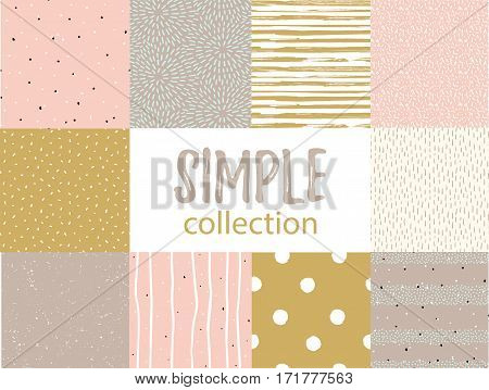 Vector seamless patterns with universal simple textures. Set for fabric, gift wrap.