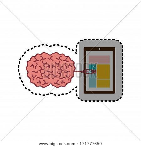sticker tablet and usb connected to brain vector illustration