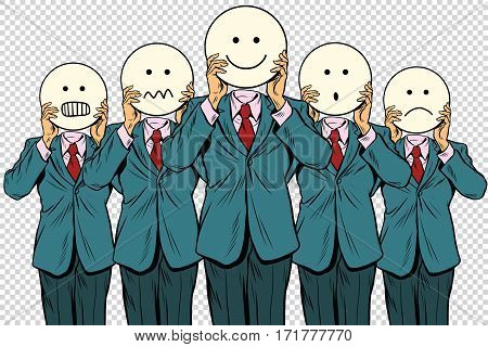 set of smiley face Emoji people isolated background. Vintage pop art retro comic book vector illustration