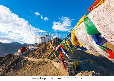 Leh Tsemo Fort Gompa Prayer Flags View Ladakh