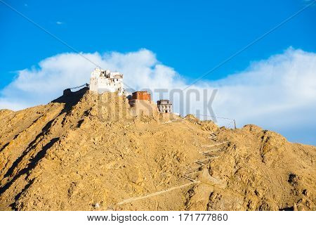 Leh Tsemo Fort Gompa Telephoto Mountaintop Ladakh