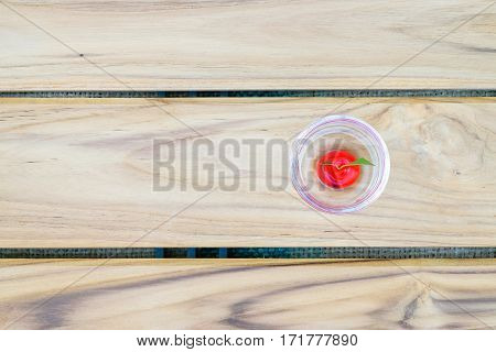 Thai Sweet Bean Confections plating in glass on wooden table