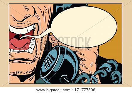 Angry man talking on the phone. comic cloud. Vintage pop art retro comic book vector illustration