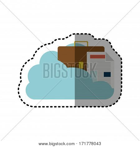 sticker cloud in cumulus shape with briefcase and document with fold vector illustration