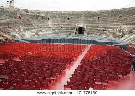 VERONA, ITALY - MAY 1, 2016: Roman amphitheatre in Verona Italy. The place of annual festival operas . The Verona Arena is a roman amphitheatre built in 30 AD.