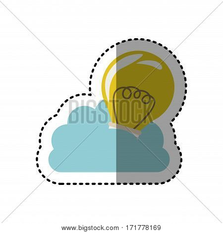 sticker cloud in cumulus shape with light bulb with filaments vector illustration