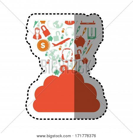 sticker orange cloud in cumulus shape with set collection investment and tech vector illustration
