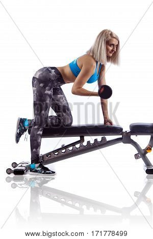 Woman In Gym Exercising With Dumbbells Lifting Weights, Working Out On Her Biceps.