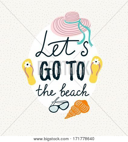 Summer banner with beach accessories. Vector hand drawn illustration with stylish calligraphy -