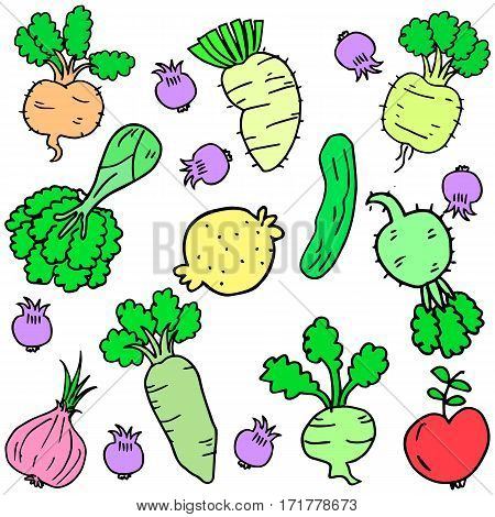 Doodle fresh vegetable set vector art collection stock