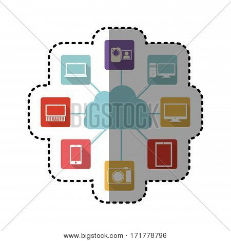 sticker colorful cloud storage with icon apps vector illustration
