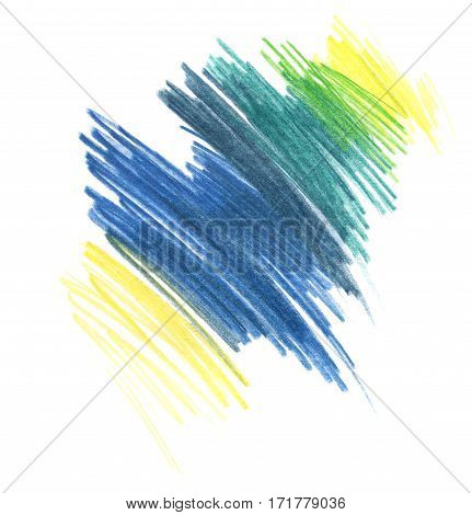 Hatching colored pencils. Abstract spot tekstura gradient. On a white background