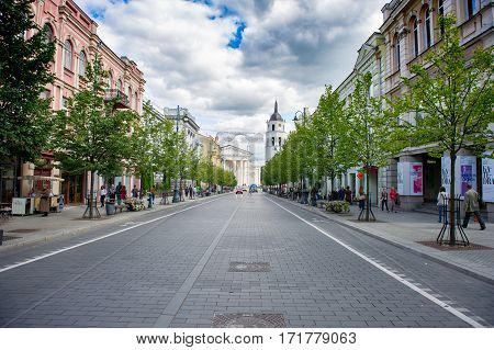 VILNIUS, LITHUANIA - AUGUST 28: Gediminas Avenue on August 28, 2012 in Vilnius, Lithuania. Gediminas Avenue is the main street in Vilnius City centre. It is popular for shopping and dining.