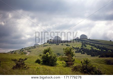 Landscape with the Crimean Astrophysical Observatory near the city of Yalta, Crimea.