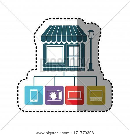 sticker colorful store online icon stock vector illustration